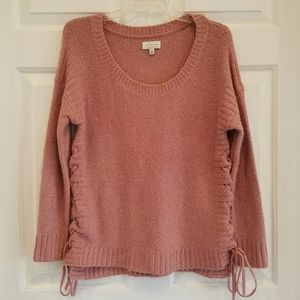 Lucky Brand/mauve sweater w/lace up sides